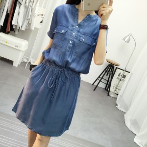 Denim Dress Woman Casual Vintage Plus Size Slim Sexy V-neck Short Sleeve Pocket Women Summer Dresse