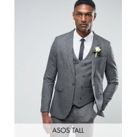 ASOS エイソス TALL WEDDING Skinny スキニー Suit Jacket ジャケット In Slate Grey Woven Texture