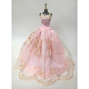 バービー 着せ替え用ドレス/服 P16 (Pink Gown with Peach Accents and Sequins Made to Fit the Barbie Doll)