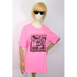 Ernie Ball T-shirt Large Neon Pink スーパースリンキー Tシャツ
