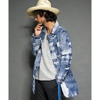 【SEVESKIG(セヴシグ)】JK-SV-NS-1005-FAKE PATCH WORK DENIM SHOP COAT ショップコート