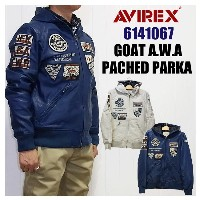 【5%OFF!送料無料!】AVIREX アビレックス アヴィレックス 6141067GOAT A.W.A PACHED PARKA山羊革ゴートレザーパーカー 皮ジャン ワッペン