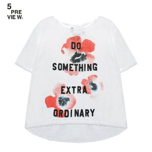 5PREVIEW (ファイブプレビュー) EMMIE POPPY T-SHIRT (WHITE) [Tシャツ/カットソー/ポピー/花柄/WOMEN] [ホワイト]