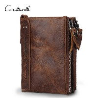 CONTACTS Genuine Leather Men Wallet Coin Purse Card Holder Zipper Small Clutch Bags