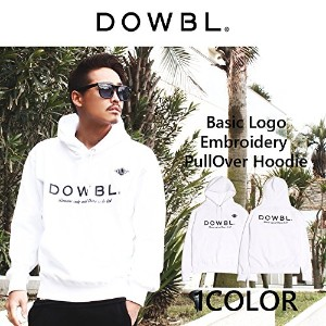 DOWBL/ダブル/Basic Logo Embroidery PullOver Hoodie【全1色】[42×ホワイト]