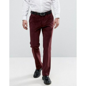 エイソス メンズ カジュアルパンツ ボトムス ASOS Straight Trousers in Burgundy with Cord Detail Burgundy