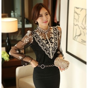 HOT Fashion Women Lace Long Sleeve Floral Shirt Tops Casual Blouse smock T shirt