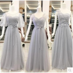 Shoulder long dress dress evening dress bridesmaid sisters skirt chair banquet wedding tie section