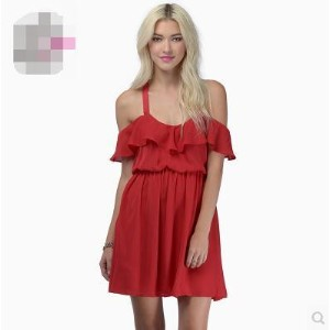 Sweet and sexy cross-exposed lotus leaf side strapless short-sleeved fold Slim chiffon dress