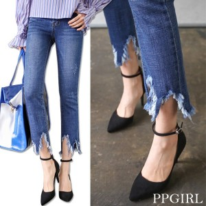 送料 0円★PPGIRL_9473 Midnight jeans / denim pants / slim straight fit pants / ankle length jeans