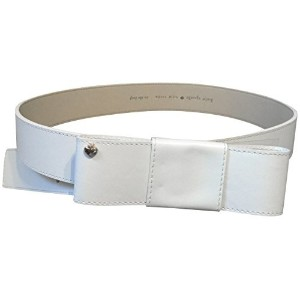 Kate Spade Genuine Leather Goldtone Ribbon Buckle Wide Belt Cream Beige S