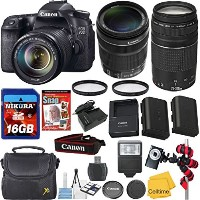 Canon EOS 70D DSLR Camera Body w/ Canon 18-135mm IS STM レンズ +Canon 75-300mm III レンズ + バッテリー +High...
