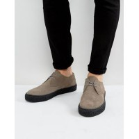 ASOS エイソス Lace Up Derby Shoes In Grey Suede With Black Sole