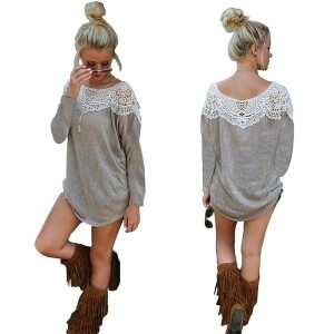 Stylish Fashion Autumn Winter Women Casual Long Sleeve Round Neck Lace Splicing Patchwork Top...