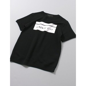 LIBERTY CITY(リバティーシティ) [BOX LOGO] PILE STITCH SHORT SLEEVE SWEATSHIRT ブラック [171142LC]
