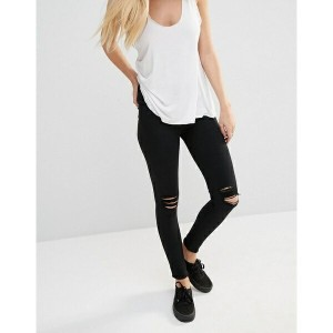 ドクターデニム レディース デニムパンツ ボトムス Dr Denim Lexy Mid Rise Second Skin Super Skinny Ripped Knee Jeans Black
