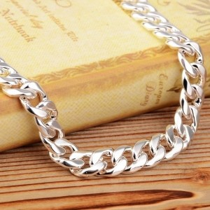 Fashion Men s 925 Silver Plating Necklace Simple Thick Chain Necklace