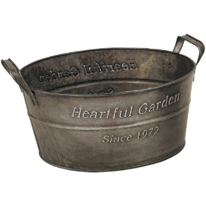 GREEN HOUSE Heartful Garden Oval Basket アンティーク風ブリキポット φ23×11cm 2370-A