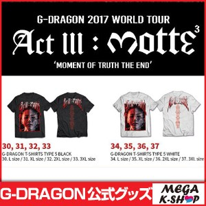 [MOTTE] G-DRAGON T-SHIRTS TYPE 5 [G-Dragon 2017 World Tour Act lll : motte MD][公式グッズ]
