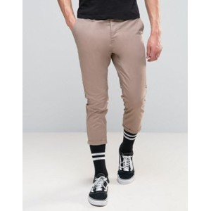 ASOS エイソス Skinny スキニー Super Cropped Chinos In Light Brown