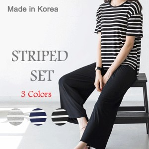 [something] Striped Easy Wear SET ★ Direct From Korea/High Quality/Home Wear/Easy wear/Trainning wea
