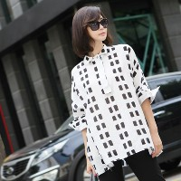 [zoozoom] Square print collar blouse 4color / 26942