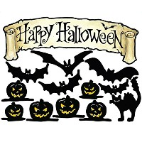 【Wallies Peel Stick Vinyl Wall Decals Happy Halloween Wall Sticker Includes Banner Witch Jack-0...