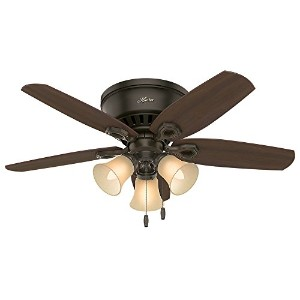 "Hunter Fan Company 51091 42"" Builder Low Profile New Ceiling Fan with Light, Bronze"