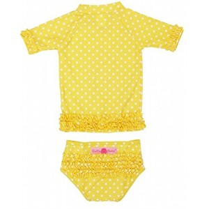 RuffleButts ラッフルバッツ水着 Yellow 3T UPF50+ ラッシュガード Yellow Polka Dot Ruffled Rash Guard Bikini (3T(95cm)...
