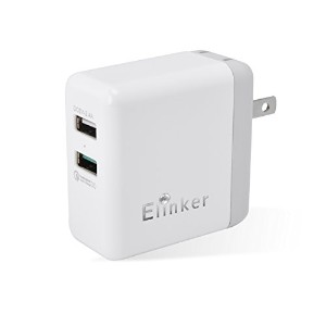 Elinker USB充電器 Quick Charge3.0急速充電器30W 2ポート5.4A acアダプター iPhone/Android/スマホバッテリー等対応 折畳式プラグコンセント ホワイト