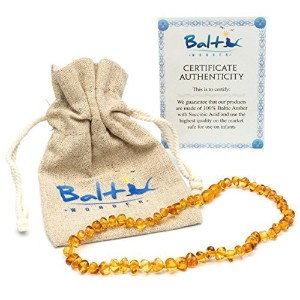 Baltic Amber Teething Necklace For Babies (Unisex) (Honey) - Anti Flammatory, Drooling & Teething...