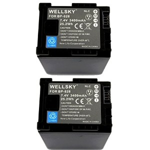 [WELLSKY] [ 2個セット ] CANON キヤノン iVIS アイビス BP-828 互換バッテリー [ 純正充電器で充電可能 残量表示可能 純正品と同じよう使用可能 ] iVIS HF...