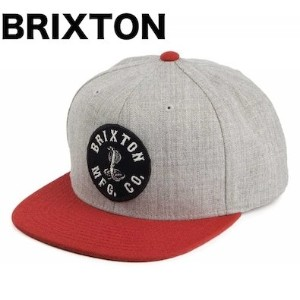 Brixton Cobra Snapback Hat Cap Light Heather Grey/Red キャップ 並行輸入品