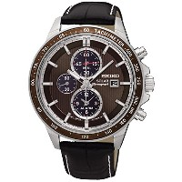 SEIKO セイコー SSC503P1 SOLAR CHRONOGRAPH BROWN DIAL BLACK LEATHER BAND MEN'S WATCH 男性用 メンズ 腕時計 [並行輸入品]