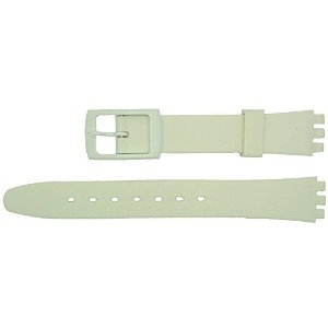 New 12mm (15mm) Sized Resin Strap Compatible for Swatch® Watch - White - RL4W [並行輸入品]