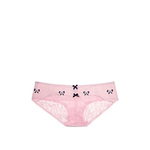 VICTORIA'S SECRET ヴィクトリアシークレット/ビクトリアシークレット VS ハートレースシャーリングバック ヒップハンガーパンティー ( LE8-Pink Striped Bows...