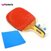 [Butterfly] ADDOY P40 (Penholder Grip) 卓球ラケットペンホルダーパドルピンポンラケット+ ボール(Free 2 Balls in Pack)+高級スポーツタオル