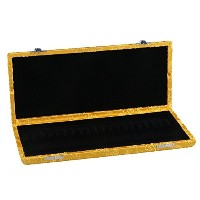 Yibuy 21x9x3cm イエロー シルクサテン+ウッド オーボエリードケース for 20 Reeds Hold Protector