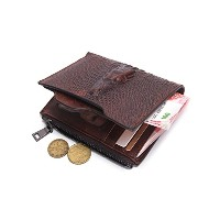 Contacts Genuine Leather Alligator Money Coin Purse Men Wallet ID Card Holder