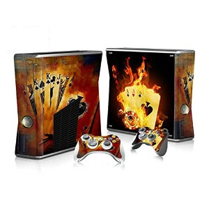 XBOX 360 Slim Skin Design Foils Faceplate Set - Burning Cards Design