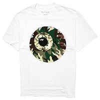 (ミシカ) MISHKA CAMO KEEP WATCH Tシャツ 黒 白 S/S TEE Black White (S, ホワイト)