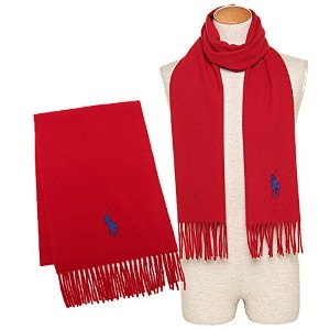 (ポロ ラルフローレン) マフラー 6F0514 600 BIG PONY EMBROIDERED SCAEF W30×H182cm ウール RL RED 2000/BRIGHT ROYAL ...