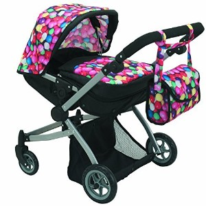 Babyboo Deluxe Twin Doll Pram/Stroller Gumball & Black with Free Carriage Bag (Multi Function View...
