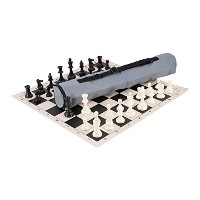 Quiver Chess Set Combination - Triple Weighted - Gray Bag / Black Board - by US Chess Federation