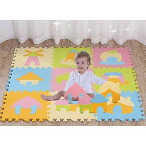 Bigood(TM) House Fairy EVA Foam Baby Crawling Assembled Puzzle Play Mat 9P House