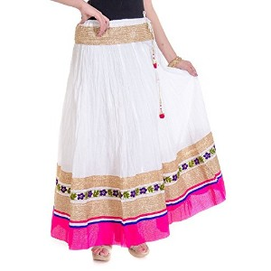 Cotton Party Wear with Heavy lace Border in Waist with Bottom long skirt