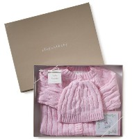 Elegant Baby 100% Cotton Pink Cable Sweater, Hat & Gift Card Size 0-6 Months Gift Boxed. (Discontinu...