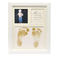 The Grandparent Gift Co. Baby Keepsakes Little Feet Footprint Frame, White by The Grandparent Gift