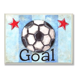 The Kids Room by Stupell Goal Soccer Ball with Blue Stripes Rectangle Wall Plaque by The Kids Room...