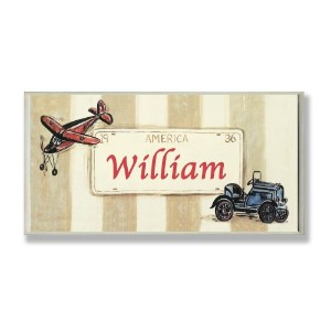 The Kids Room by Stupell William, America License Plate with Plane and Automobile Rectangle Wall...
